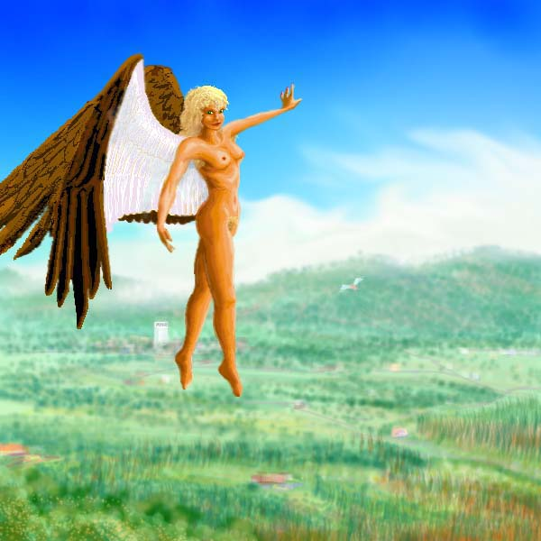 A 'daybird': a brown-winged woman flying over the gentle green hills of Eastern Ishtar, on Venus after terraforming.