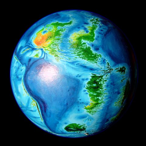 Abyssia: Earth with all topography inverted and the same amount of water. Only abysses are above water. South American Ocean, lower left; lobe of African Ocean, upper right; down the middle, the Atlantis Strip