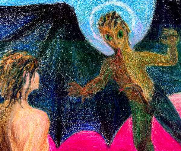 Crayon drawing of Andromeda and the dragon locking gazes.