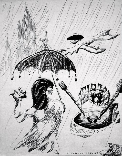 A church steeple through rain, a bearded owl rowing a boat, a woman with surreal umbrella holding a fanged fish, a bird swimming by with a hat...