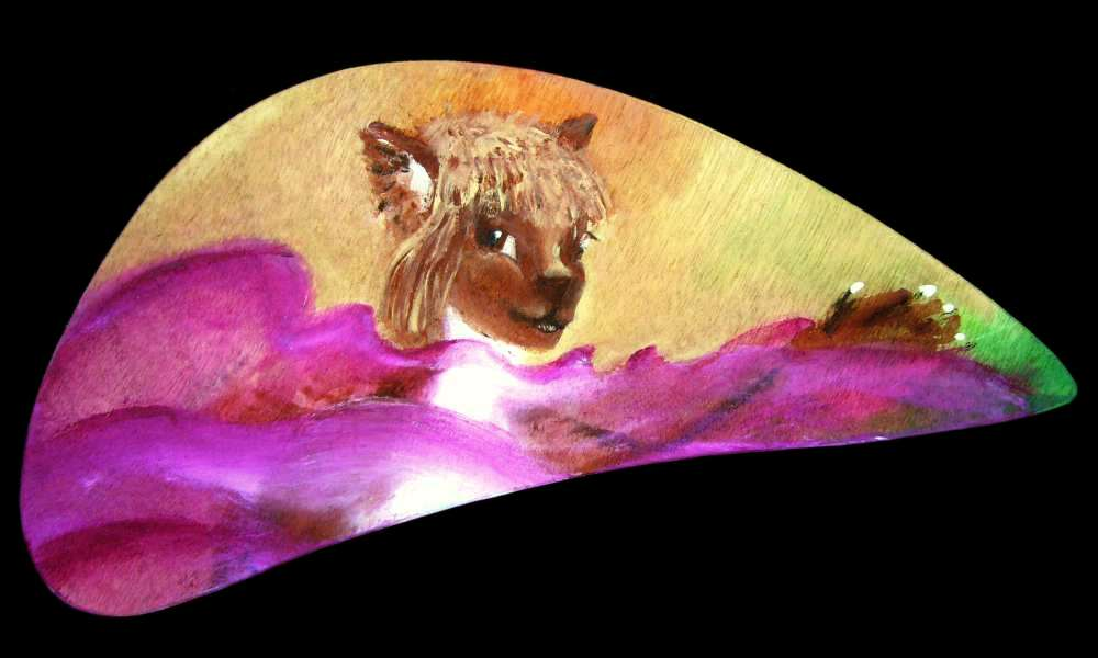 A leptaur, a centauroid cat native to Atlantis on Abyssia, swimming; paintsketch by Wayan.