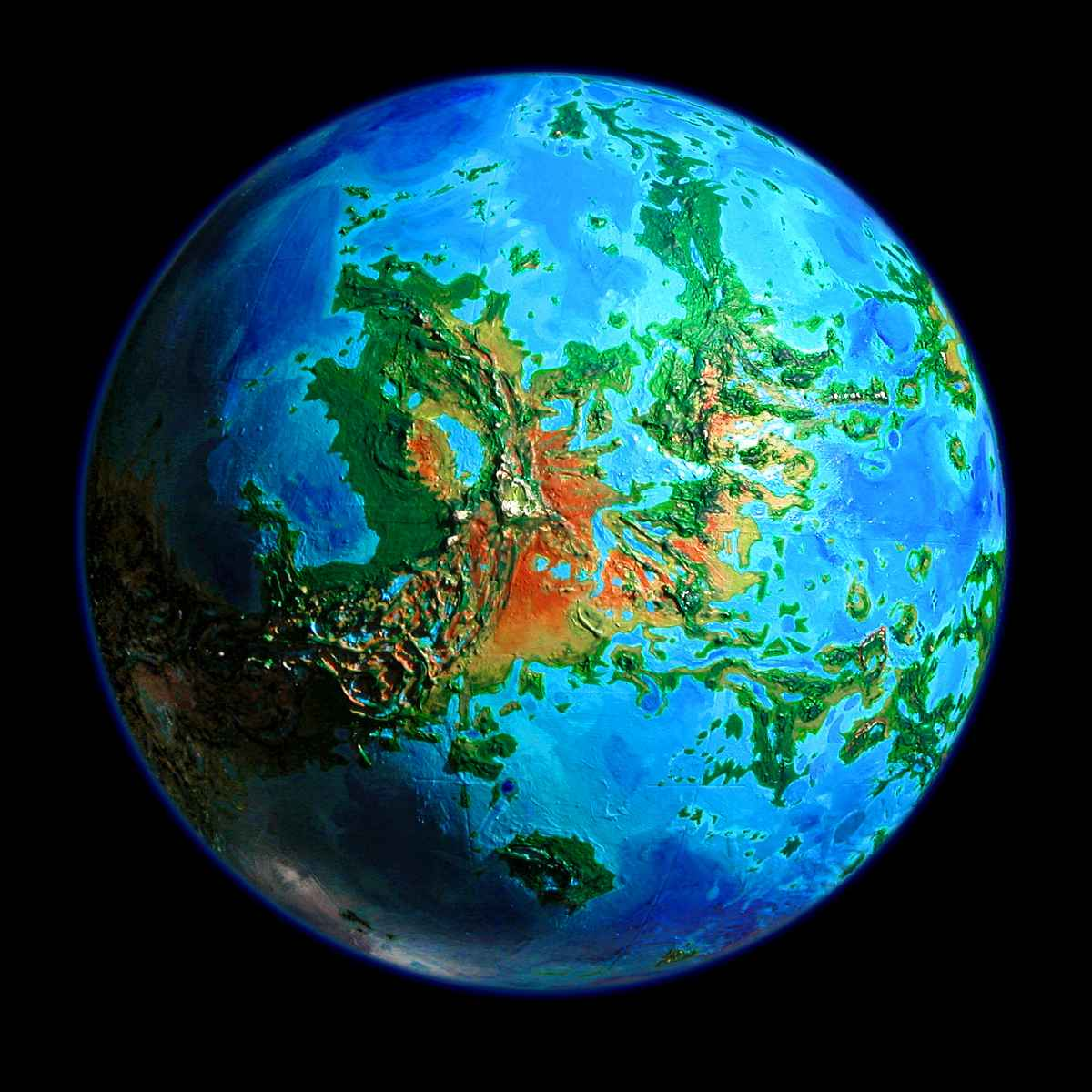 Orbital photo of a terraformed venus 1000 years from now click to