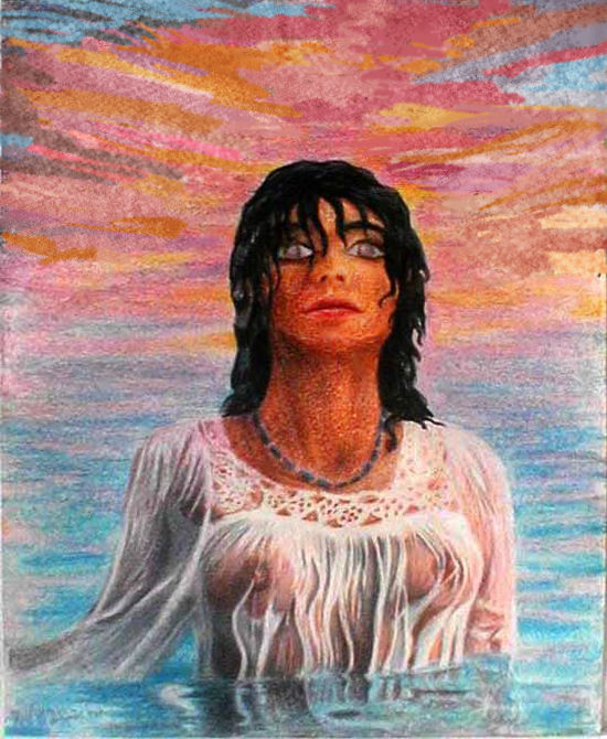 erasable crayon drawing of woman in gauzy white shirt or robe, rising from the sea