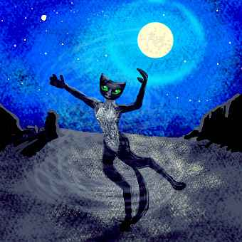 A lanky black cheetah dancing in desert moonlight