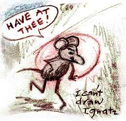 Ignatz Mouse throws a brick, yelling 'Have at thee!'