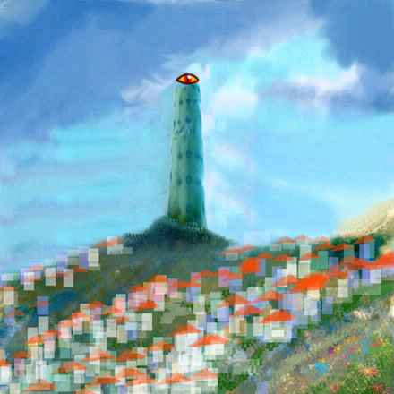 Dream: A thousand-foot stone tower with a staring eye looms over San Francisco.