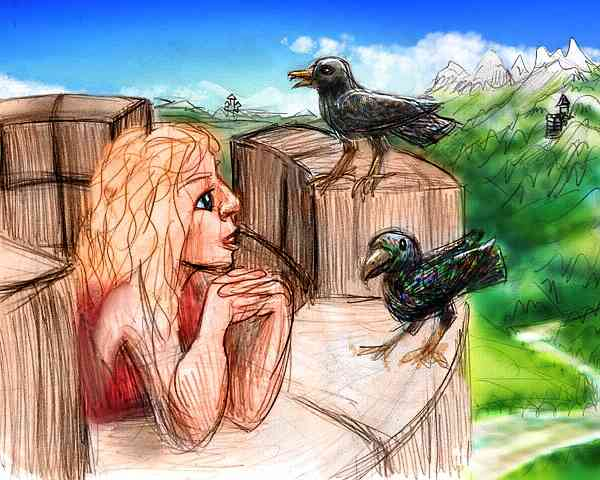 Dream: I'm on the battlements of a castle in Oz, admiring the plumage of crows