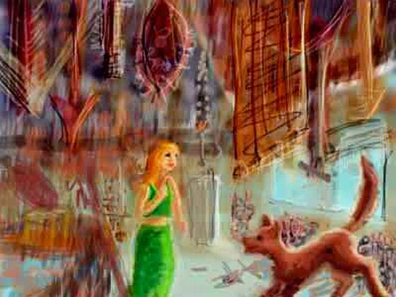 Girl in green gown in a lodge jammed with sharp rusty junk; playful wolf-dog enters. Dream sketch by Wayan