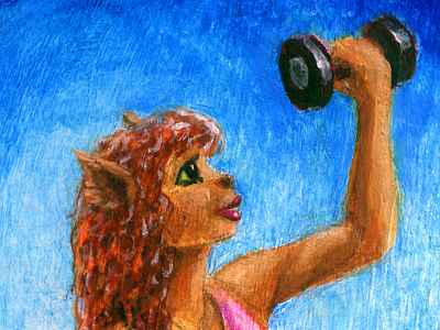 A curly-redheaded fox-girl in profile lifting weights