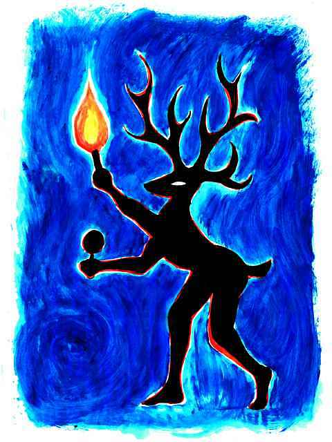Silhouette of a deer-shaman with raised torch, on blue