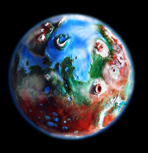 Orbital view of Elysium and Tharsis on the terraformed Mars where I live, in my dream.