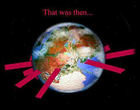 Orbital view of the planet Pern, with magenta banners rising from the surface around the equator. Caption: 'That was then'.