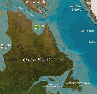 Map of Quebec showing Ungava Bay.