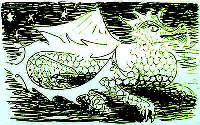 Green dragon crouching under stars; ink sketch of a dream.