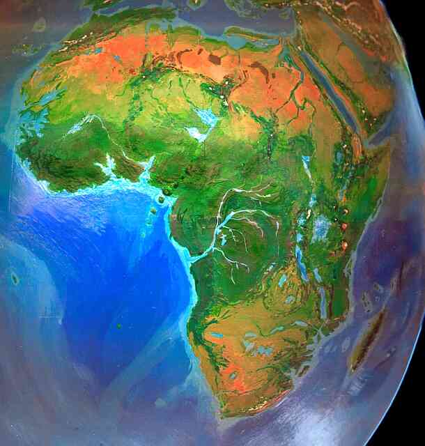Orbital photo of Dubia, a possible future Earth. Africa's rainforests have grown at the desert's expense