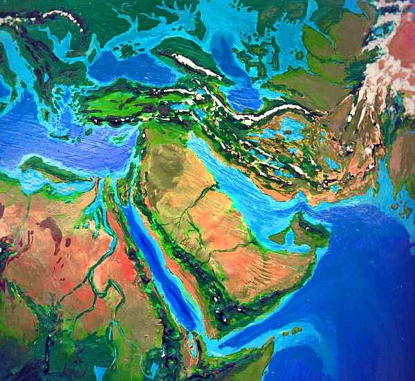 Orbital photo of Dubia, a possible future Earth. Half Arabia is flooded, Israel and Oman are nearly islands, and most of the desert is grassland.