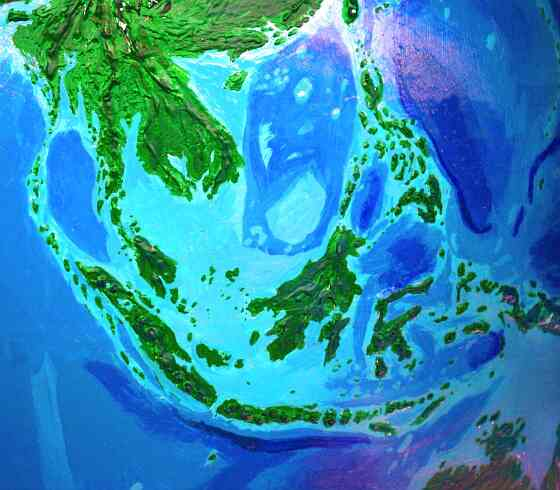 Orbital photo of Dubia, a possible future Earth. The Southeast Asian archipelago has shrunk a bit, but reforested. The Malay Peninsula's an island chain, and Borneo's broken up.