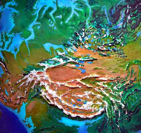 Orbital photo of Dubia, a possible future Earth. The steppes of Central Asia are greener, but Tibet and Xinjiang are still mostly barren