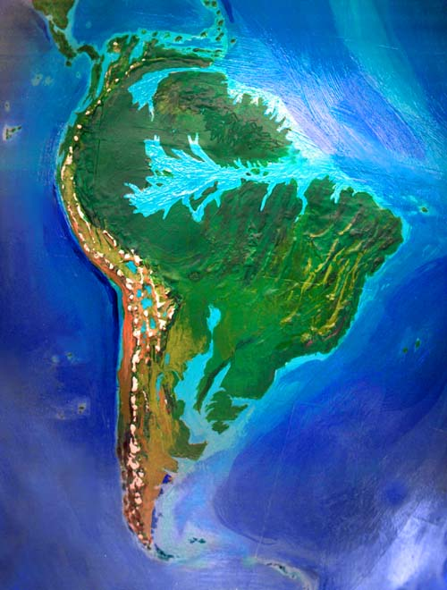 Orbital photo of Dubia, a possible future Earth. Three great gulfs cut up South America: Orinoco, Amazon and Parana.