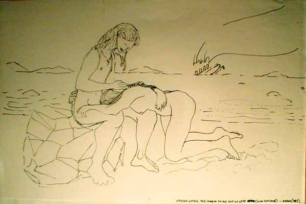 Line drawing: a beach. A boy sits on a rock; a kneeling girl cries in his lap. They clearly swam ashore from the sinking liner on the horizon.