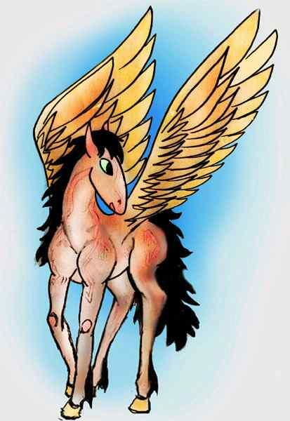 A pegasus colt seen in a dream, with golden wings, black mane and tail, ruddy coat and green eyes.