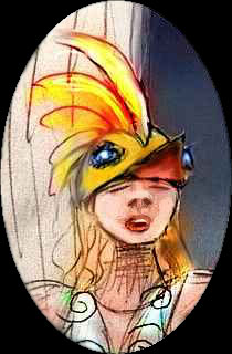 A girl playing the Firebird, with a golden bird-head hat.