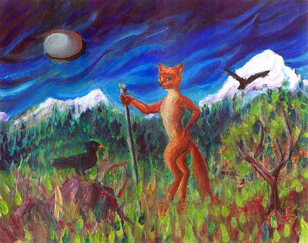 A red vixen leans on her shepherd's staff, talking to a raven in a meadow under snowy peaks. No sheep.