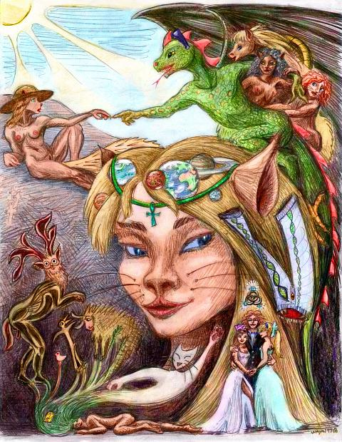 Top: me, Gray, in my wide hat, as Michelangelo's Adam getting the divine touch of contraception from the Dragon, as God. My portrait, with jewelry for once: the planets I've visited. Lower left, my human body dreaming; cave-paintings around me. Lower right, two girls and I getting married.