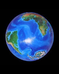 Globe of the Earth a thousand years from now: Antarctic forests, flooded Amazon, Florida gone.