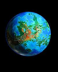 Orbital photo of a terraformed Venus 1000 years from now. Click to enlarge.