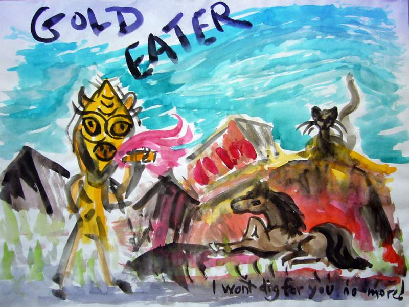 watercolor of a dream by Wayan: 'Gold Eater'. A pony rebels against its monster master, who forces the pony to dig gold.