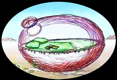 Sketch of a transparent egg with a green bed inside--my dream-ship.