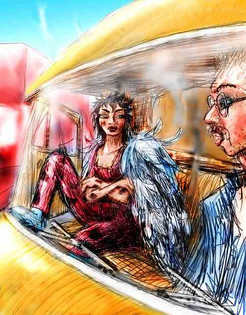 Dream: A scorched, scowling angel sits next to a trucker in his cab. He looks guilty--with good reason.