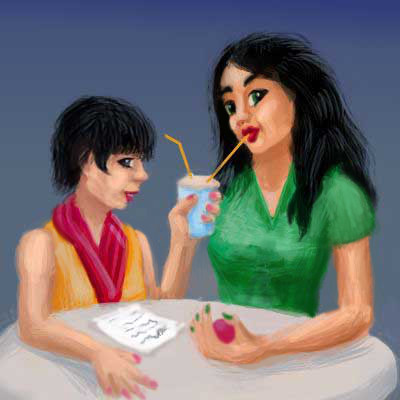 Sketch of two girls (black hair, gold and green tops, a magenta scarf), sipping a drink at a round cafe table.