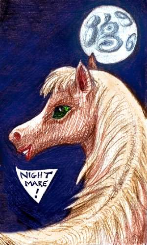 Sketch of Silky, my Nightmare; a beautiful mare's head against a full moon.
