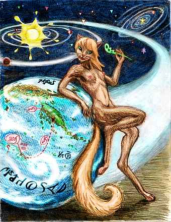 A woman with lemur ancestry toying with a leaf and leaning on a large globe (mostly ocean)