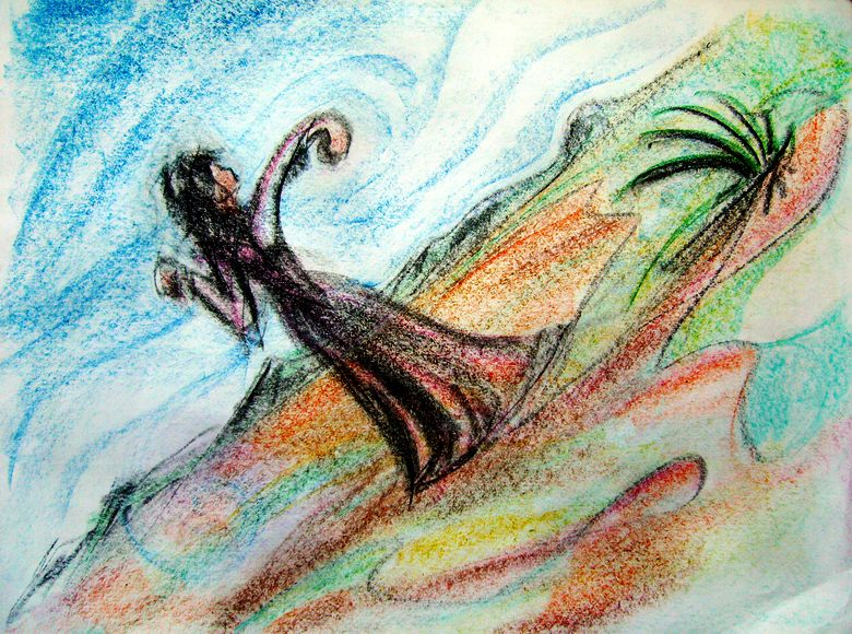 Angry Greek witch; crayon sketch of dream by Wayan. Click to enlarge