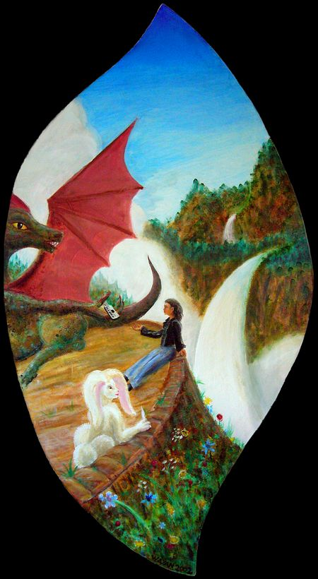 A dream: Dragon & White Hare & I, on the Terrace above Chaos. Click to enlarge.