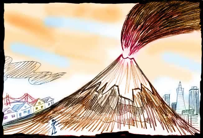 Sketch by Wayan of a dream: a volcano erupts in San Francisco