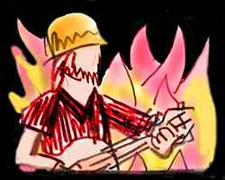 Faceless man in a safety helmet plays a flaming guitar.