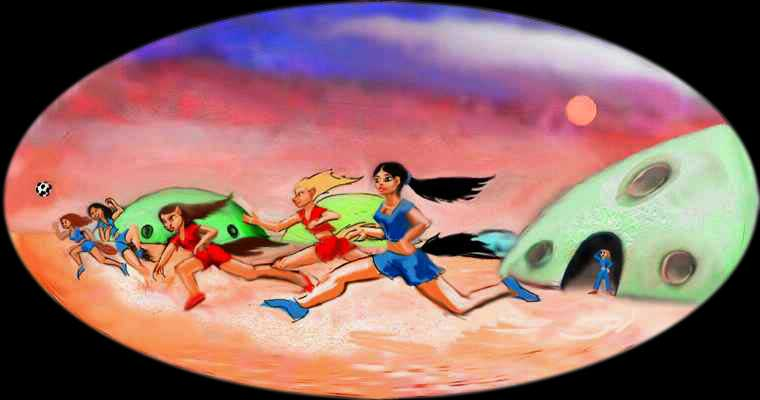 Mars-adapted girls play air-polo between the colony domes. Dream image by Wayan; click to enlarge