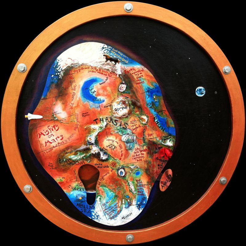Dream-painting by Wayan: 'Misfits on Mars.' Through a bronze porthole, a plywood living Mars floats in space, with forests, seas, glued-on volcanoes, toy animals and space shuttles. Click to enlarge & read dream.