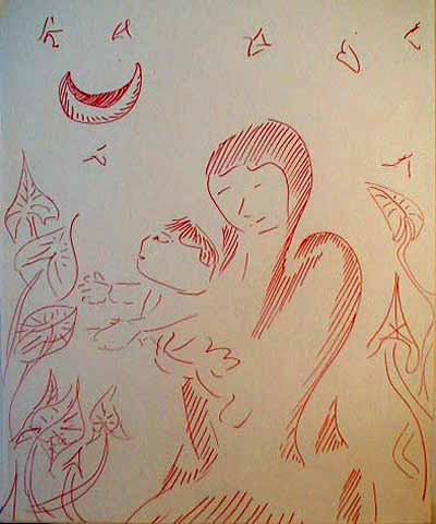 Line drawing in red, of a mother holding child up to see a climbing vine, under crescent moon