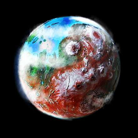 Orbital photo of a terraformed Mars 1000 years from now.