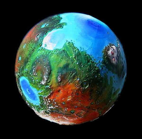 Orbital view of a terraformed Mars: Hellas, Syrtis, Nepenthe, Hesperia, and Elysium.