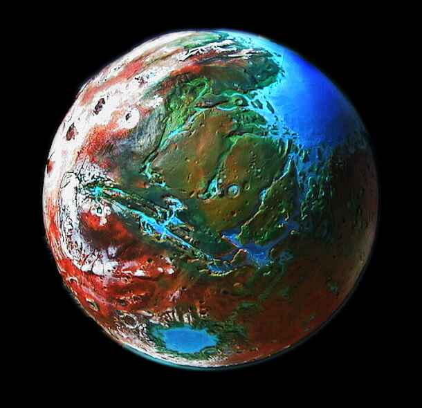Orbital photo of a terraformed Mars 1000 years from now: Tharsis and Mariner Canyons.