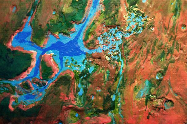 Orbital photo of a terraformed Mars 1000 years from now: Ganges Gulf, Mariner Sound, the Chaos.