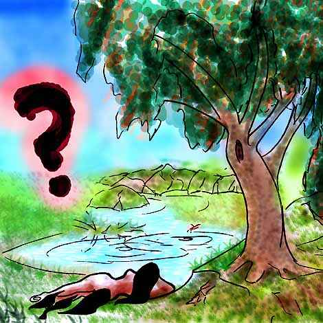 Person lying under a tree, by a pool--but a person of what species? Not human, but what?