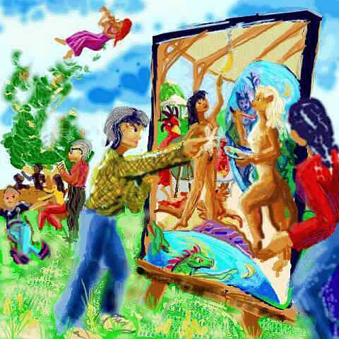 In a park, at our family reunion (painted Marc Chagall style) my mom pokes my new painting. Out to damage it?