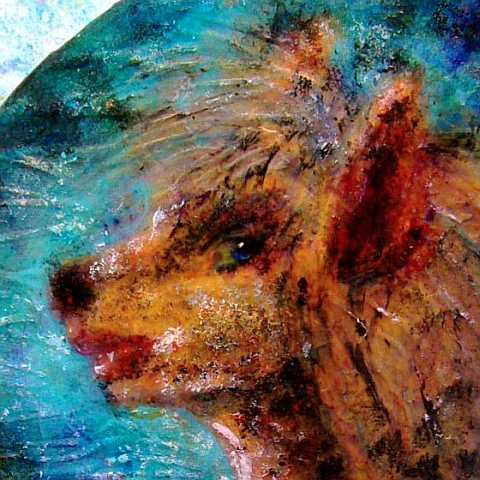 Acrylic painting of a dream by Chris Wayan: head of a woman turning into a wolf.